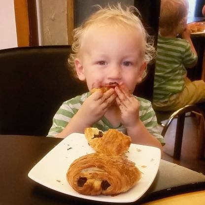 Croissant eating