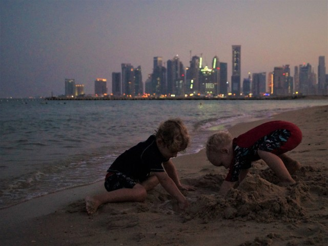 Doha stopover with kids - evening beach