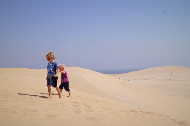 Doha stopover with kids - dune walking