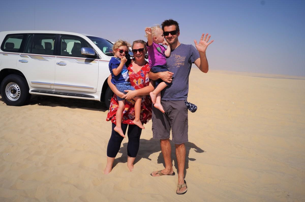 Doha stopover with kids - dune bashing